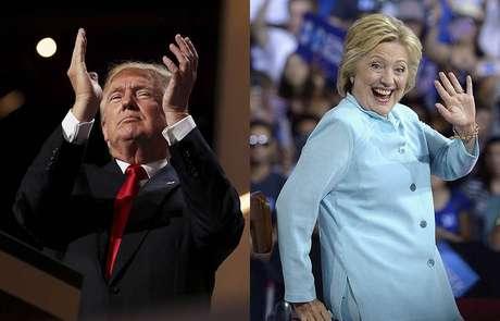 Donald Trump, candidato republicano, e Hillary Clinton, candidata democrata