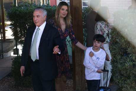 O presidente interino estava acompanhado pela mulher, Marcela Temer