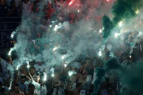 Torcida do Palmeiras faz festa na arena e deve ir em bom público ao estádio(Foto: Cesar Greco)