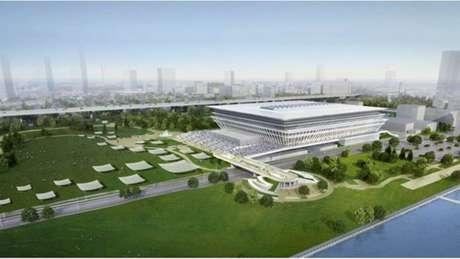 Projeção de como deve ficar o novo Centro de Esportes Aquáticos de Tóquio para 2020