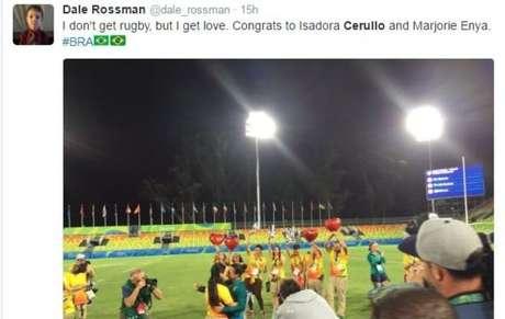 'Não entendo de rúgbi, mas entendo de amor. Parabéns a Isadora Cerullo e Marjorie Enya', diz este tuíte