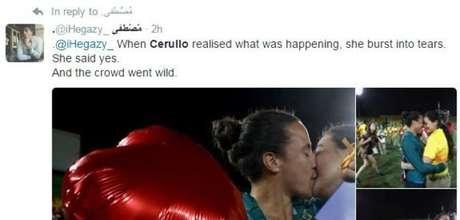`Quando Cerullo percebeu o que estava acontecendo, foi às lágrimas', diz este tuíte