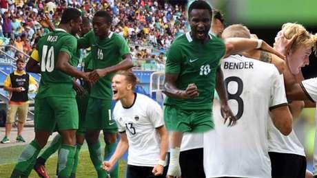 Alemães e nigerianos duelam nesta quarta (Montagem sobre fotos AFP)