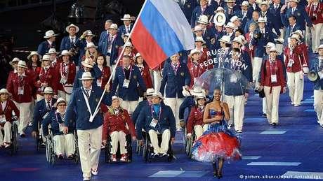 Delegação paralímpica russa nos Jogos de Sochi, em 2014