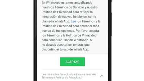 Instruções (em espanhol na imagem) sobre a nova política de privacidade do Whatsapp