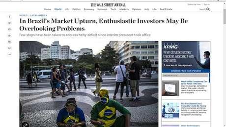 Investidores entusiasmados com Brasil pós-Dilma podem estar minimizando problemas, afirma 'Wall Street Journal'