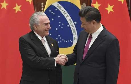 Presidente da China Xi Jinping recebe o presidente Michel Temer em Hangzhou