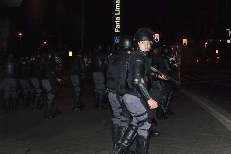 Tropa de choque da Polícia Militar entrou em ação no final da manifestação