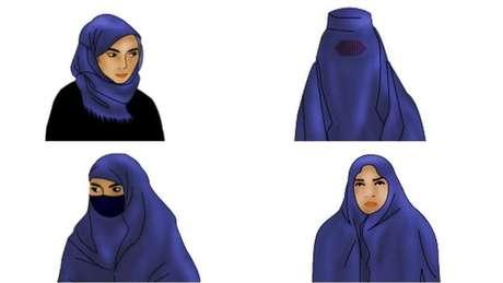 Quatros tipos de véus comuns em países muçulmanos: em cima, o hijab (esq.) e a burca; embaixo, da esquerda, o niqab e o chador