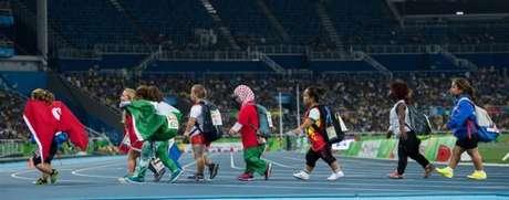 Atletas participantes do arremesso de peso