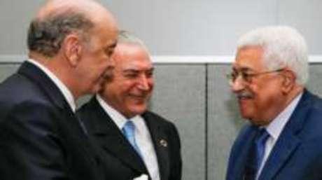 Serra e Temer na ONU, ao lado do presidente da Autoridade Palestina, Mahmoud Abbas; chanceler brasileiro disse que boicote de delegações ao Brasil não teve relevância