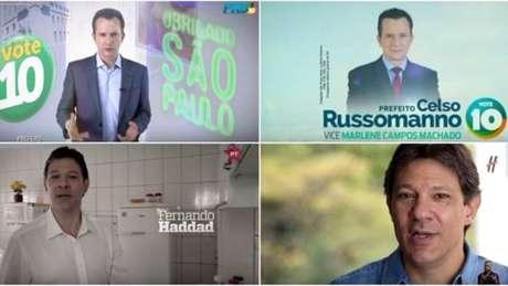 """Em São Paulo, tanto Celso Russomano (PRB) quanto Fernando Haddad (PT) mudaram nestas eleições a forma com que exibiam o nome do partido em 2012; Russomano eliminou a referência à legenda e o petista tem alternado a estrela com um """"H"""", mas o nome do PT não mais aparece"""