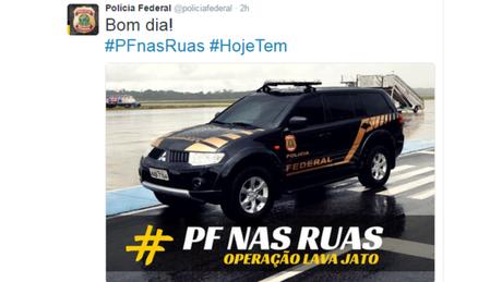 Twitter da PF usa a hashtag #HojeTem para avisar sobre novas prisões da Lava Jato