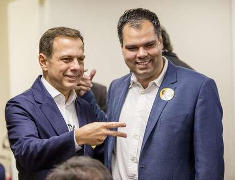 O candidato do PSDB à Prefeitura de São Paulo João Doria acompanhado do seu vice, Bruno Covas