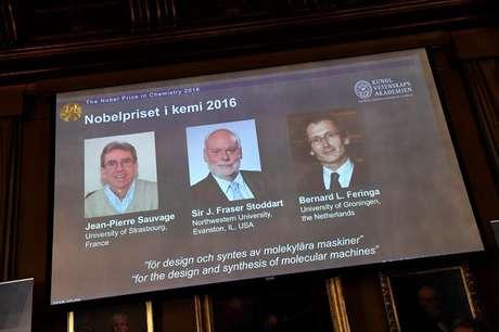 Vencedores são Jean Sauvage, James Stoddart e Bernard Feringa