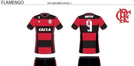 Uniforme do Flamengo com a marca do novo patrocinador do clube (Foto: Reprodução/ Twitter)