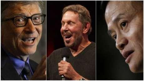 Bill Gates (Microsoft), Larry Ellison (Oracle) e Jack Ma (Alibaba) figuram entre os empresários de tecnologia mais ricos do mundo