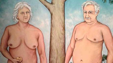 Retiran pintura que retrata a Mujica ya su esposa semidesnudos