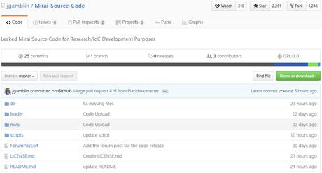 Figura 2. Captura del repositorio de Github en el que ha sido liberado el código fuente de la botnet Mirai.