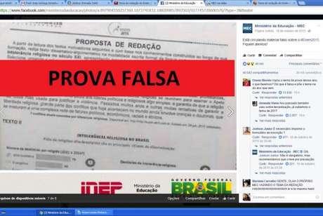 """A imagem com o título """"Prova Falsa"""" foi publicada em outubro do ano passado no Facebook do Ministério da Educação para desmentir boatos de vazamento da prova do Enem de 2015"""