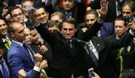 O Deputado Jair Bolsonaro no dia da votaçãoda admissibilidade do processo de impeachment da presidenta Dilma Rousseff