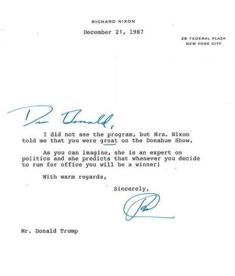 Richard Nixon escreveu carta a Donald Trump em 1987