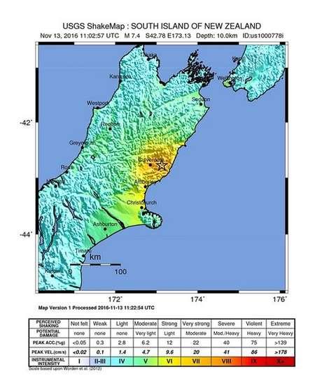 Mapa mostra local do epicentro do terremoto de 7,4 graus que atingiu a Nova Zelândia