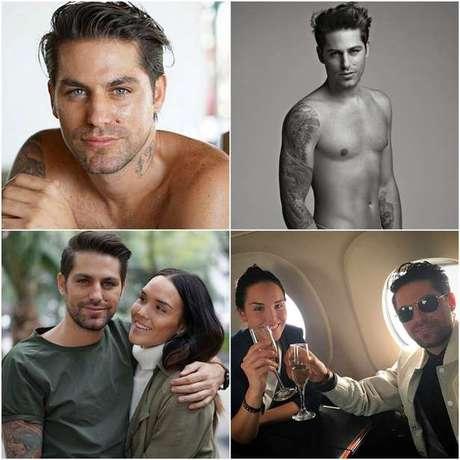 Acima, Renato López em fotos como modelo; abaixo, com a namorada (Fotos: Reprodução/Instagram)