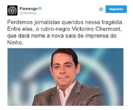 Flamengo faz homenagem a jornalista morto na tragédia com avião da Chapecoense (Foto: Reprodução/Twitter)