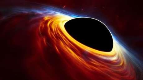 Nessa representação, buraco negro é cercado pelos destroços da estrela