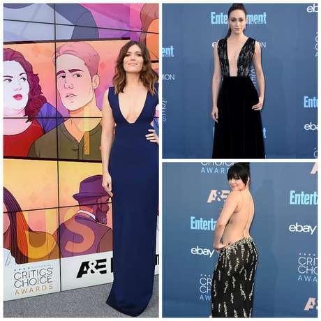 Mandy Moore, Emmy Rossum y Ariel Winter sobre la alfombra azul.