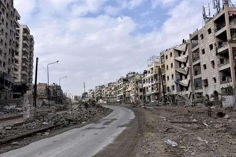 Fotografía que muestra los daños en los edificios del distrito de Al Sukari y Ansari de Alepo