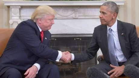 Trump e Obama durante encontro após a confirmação da vitória do empresário nas eleições presidenciais de 2016