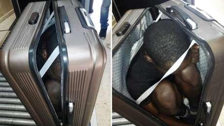 Polícia espanhola flagrou imigrante africano escondido dentro de mala