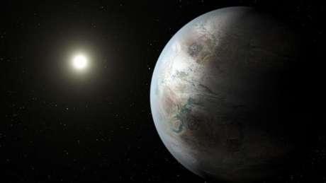O planeta Kepler-452b tem o tamanho da Terra e está em uma zona habitável na órbita de uma estrela similar ao Sol
