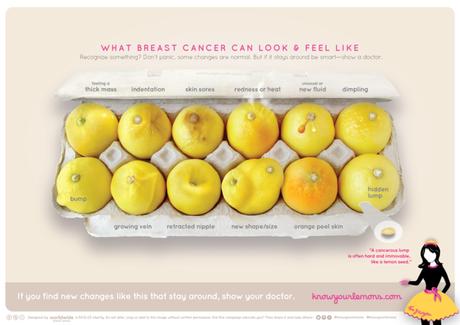 A campanha mostra em 12 limões os sinais do câncer de mama e o aspecto que a doença dá ao seio