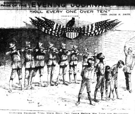 O sultão muçulmano de Sulu, nas Filipinas,  inquirindo o general americano Woods , 1902.