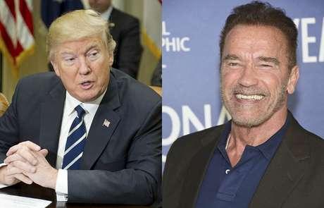 Arnold Schwarzenegger e Donald Trump têm trocado tuítes com provocações desde a campanha eleitoral. O ator, que é republicano, não votou em Trump.