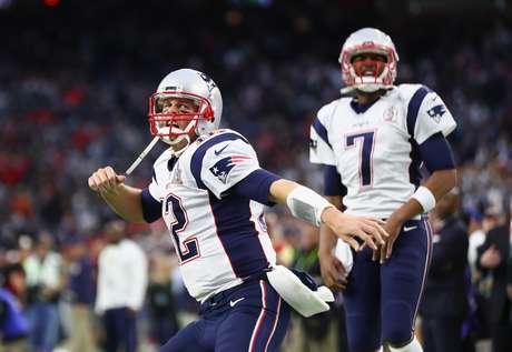 Tom Brady vibra com touchdown anotado pelo New England Patriots no Super Bowl