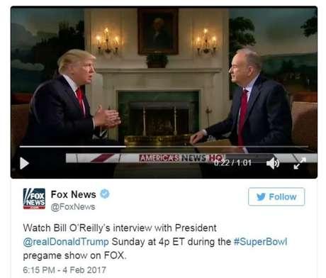 Trump em entrevista ao apresentador da Fox News, Bill Reilly neste final de semana