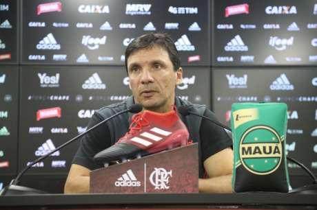 Zé Ricardo concedeu entrevista coletiva no Ninho do Urubu (Foto: Gilvan de Souza/Flamengo)