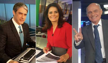 William Bonner, do 'Jornal Nacional', Adriana Araújo, do 'Jornal da Record' e Ricardo Boechat, do 'Jornal da Band'