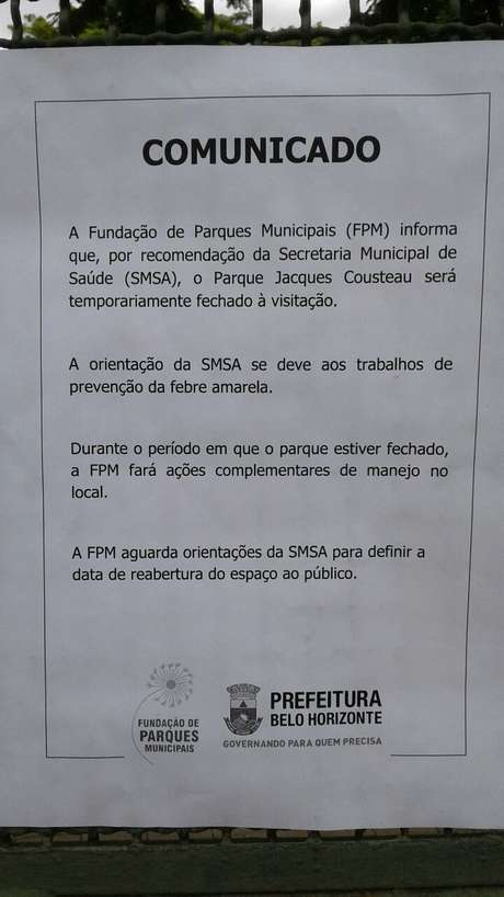 Comunicado sobre a interdição do parque.