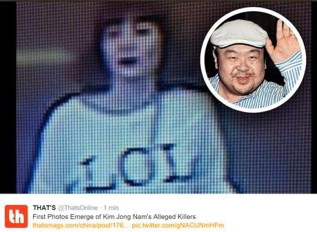 Imagen de la sospechosa y de Kim Jong-nam