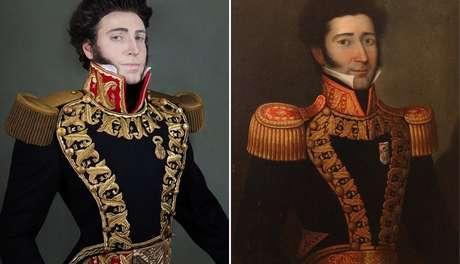 Fuchs (esq.) se transforma no marechal Juan Bautista Elespuru y Montes de Oca (dir.), que lutou na guerra da independência do Peru, entre 1811 e 1824