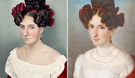 A primeira recriação de Fuchs (esq.), Luise Friederike Charlotte Eleanora Chee (dir.), a bisavó da sua avó. 'Fui ao cabeleireiro e fiz um penteado igual ao dela'
