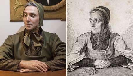 Fuchs (esq.) está se transformando em Dorothea Viehmann, antepassada que colaborou com os Irmãos Grimm