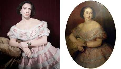Fuchs (esq.) recria os penteados, roupas e joias antigas; acima, ele personifica a tia-tataravó Benjamina Elespuru y Martinez de Pinillos