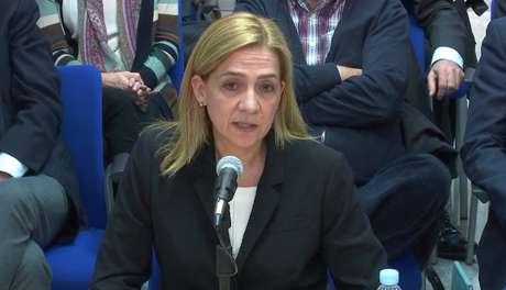 La infanta Cristina durante el juicio