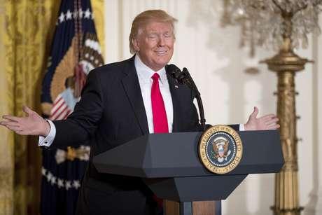 El presidente Donald Trump en la conferencia de prensa sorpresa el jueves 16 de febrero de 2017, en la Sala Este de la Casa Blanca en Washington.